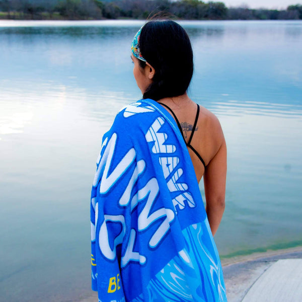 "Swag - Blue Towel - New Wave Microfiber Velour Beach Blanket - 30"" X 60"""