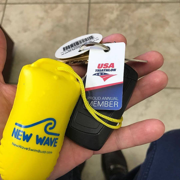 New Wave Floating Key Chain for Open Water Swimmers and Triathletes - Swag - New Wave Swim Buoy for Open Water Swimmers & Triathletes