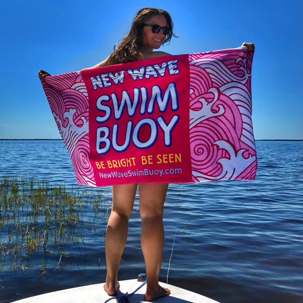 "Swag - Pink Towel - New Wave Microfiber Velour Beach Blanket - 30"" X 60"" Inches"