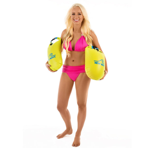 woman manequin a 2 open water swim buoys of New Wave Brand