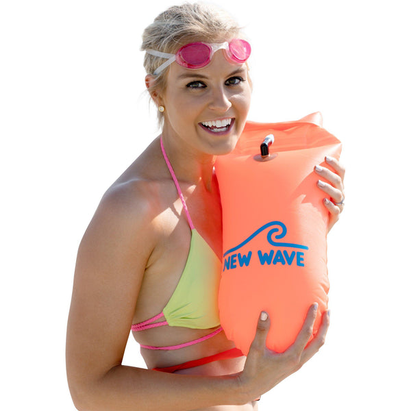 The Best Open Water Swim Buoy - New Wave Swim Buoy - Medium in Bright Orange