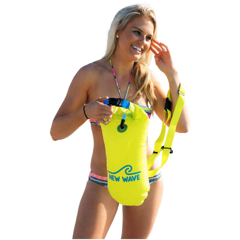 New Wave Open Water Swim Buoy - Medium (15 Liter) - PVC Yellow