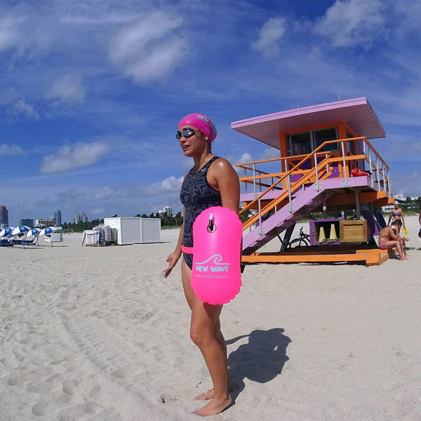 New Wave Swim Bubble for Open Water Swimmers and Triathletes - Pink best open water swim buoy