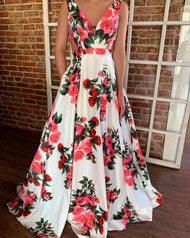 Woman in a V-Neck floral prom dress