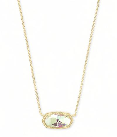 Kendra Scott Dira Rose Gold Coin Charm Necklace in Dichroic Glass