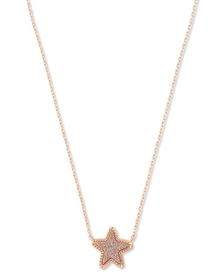 Kendra Scott Jae Star Rose Gold Pendant Necklace In Rose Gold Drusy