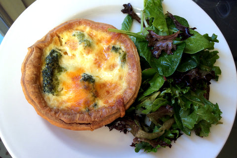 Quiche served with Mixed Greens