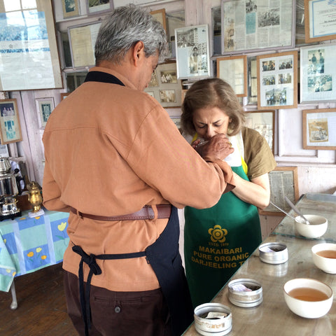 Anupa at the Tea Room, checking Makaibari tea
