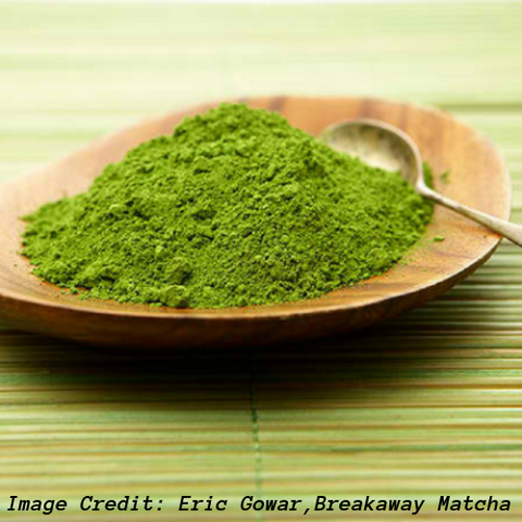Wood Bowl Of Green Matcha Tea Powder