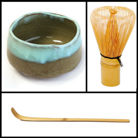 Matcha Bowl, Bamboo Whisk and Spoon - Silver Tips Tea