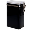 Black metal rectangular canister with a clear lid and latch.