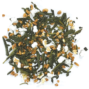 Genmaicha - blend of bancha, popped corn and toasted, hulled rice kernals - Silver Tips Tea's Loose Leaf Tea