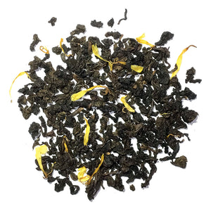Passionfruit Oolong - Lightly oxidized green oolong flavored tea with passionfruit flavor & marigold flowers. Silver Tips Tea's Loose Leaf Tea