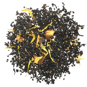 Peach - Black tea with peach flavoring and peach pieces, blended with marigold flower petals. Silver Tips Tea's Loose Leaf Tea