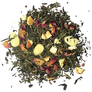 Evergreen Green Tea - Sencha green with orange peel, apple, almonds, cinnamon chips, rose petals, and a dash of spice - Silver Tips Tea's Loose Leaf Tea