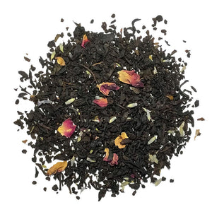 Rajini - The Empress Blend flavored tea - An indulgent blend of black tea with blue French lavender and rose petals. Silver Tips Tea's Loose Leaf Tea