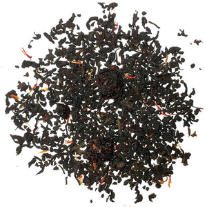 Red Fruits - This black tea is a flavored tea with strawberry, raspberry, red currant and cherry flavors, fruit pieces and sprinkled with red safflowers. Silver Tips Tea's Loose Leaf Tea