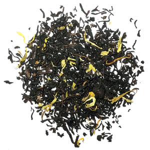 Organic black tea with peach flavoring & flowers