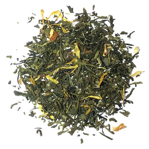 Green Limon - A bright Sencha green with lemon peel and lemon flavor, sprinkled with marigold flowers - Silver Tips Tea's Loose Leaf Teas