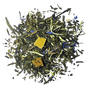 Sencha Tropic - Green Tea with Sencha, coconut, cornflowers, mango bits, with mango/coconut flavor - Silver Tips Tea's Loose Leaf Tea