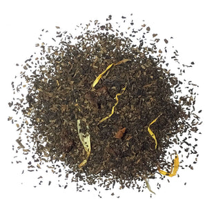 DECAF BLACK TEA WITH PEACH FLAVOR AND FRUIT PIECES