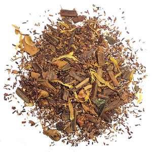 Non-caffeinated blend with cinnamon, apple, rooibos, flowers and apple cinnamon flavor.