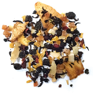 Mango Flip -  papaya, hibiscus, currants, pineapple, berries, coconut, yogurt, mango essence - Silver Tips Tea's Loose Leaf Tea