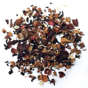 Piña Colada - Apple, hibiscus, rose hip peels, pineapple, coconut shreds and tropical essence. Silver Tips Tea's Loose Leaf Tea