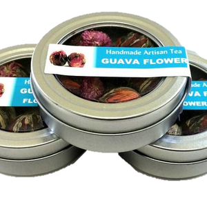 Guava Flower Canisters - One of the most beautiful flowering teas we have ever seen with the unmistakable taste of Guava - Silver Tips Tea's Loose Leaf Tea