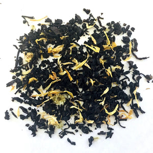 BLACK TEA WITH FLAVORING AND YELLOW FLOWERS