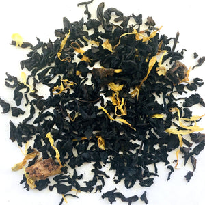 BLACK TEA, PEACH APRICOT FLAVORING, FRUIT BITS AND YELLOW FLOWERS