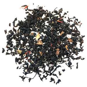 BLACK TEA WITH CHERRIES, LEMON PEEL AND SAFFLOWERS AND FLAVORING.