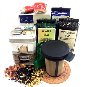 GIFT BOX WITH 3 TEAS, SCOOP, CANISTER, CLIP, COASTER AND TREAT
