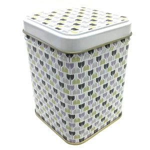 CANISTER WITH TULIP PATTERN APPROX. 4 OZ CAPACITY