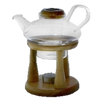 Prince Teapot - This 22 ounce Glass Teapot with glass infuser sits beautifully on a wooden stand with a candle below to keep your tea warm. Silver Tips Tea's Accessories
