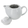 White 14 oz. Teapot with Infuser Basket and Lid
