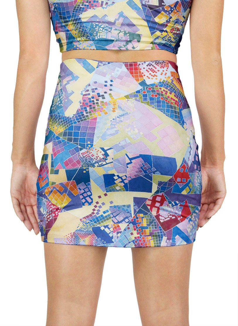 Blue Chaos Swatch Mini Skirt