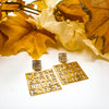 Gold Secret Writing - Square Earrings