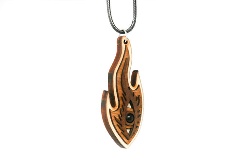 Hardwood Flaming Eye Pendant