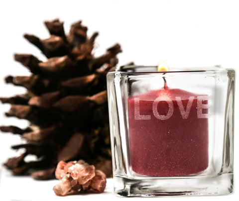 Love Etched Glass Votive Candle