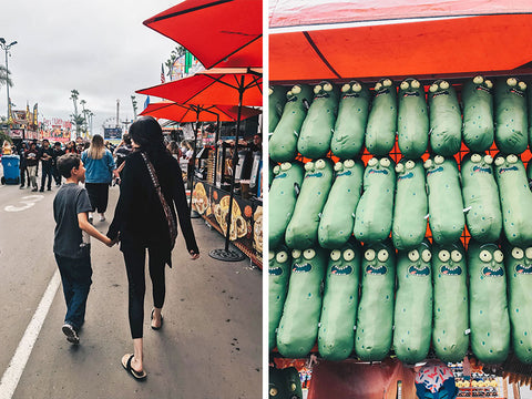 del mar fair, mom and son, pickles, midway games
