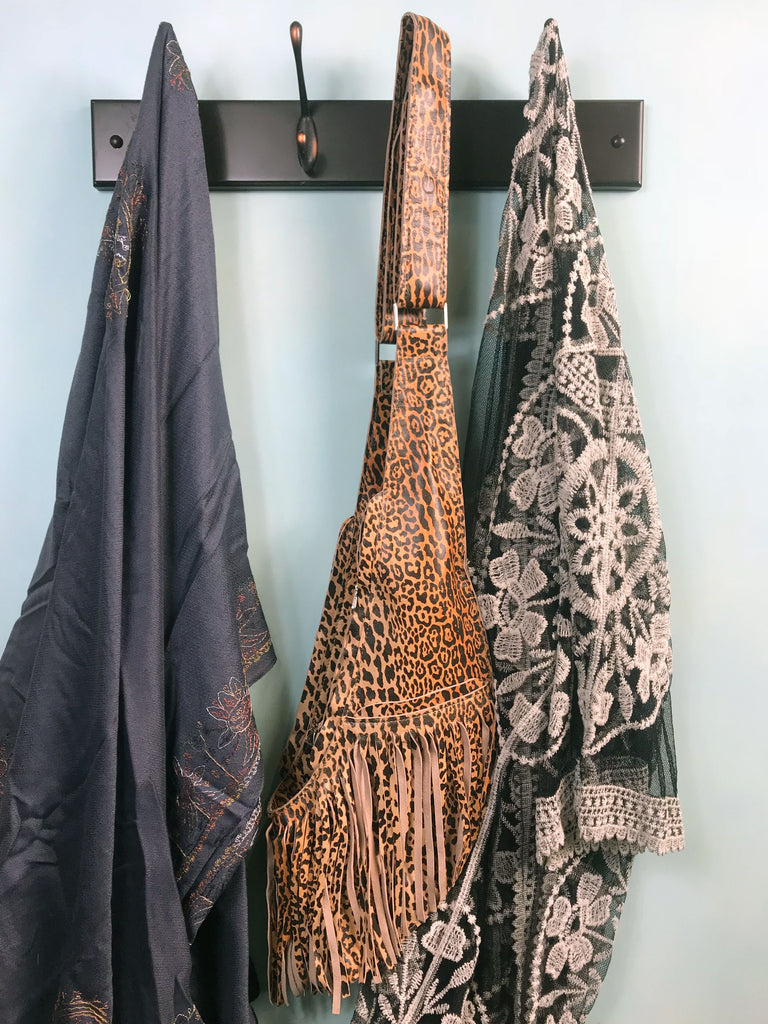 PRE-ORDER: Leopard Leather Full Fringe Sash Bag