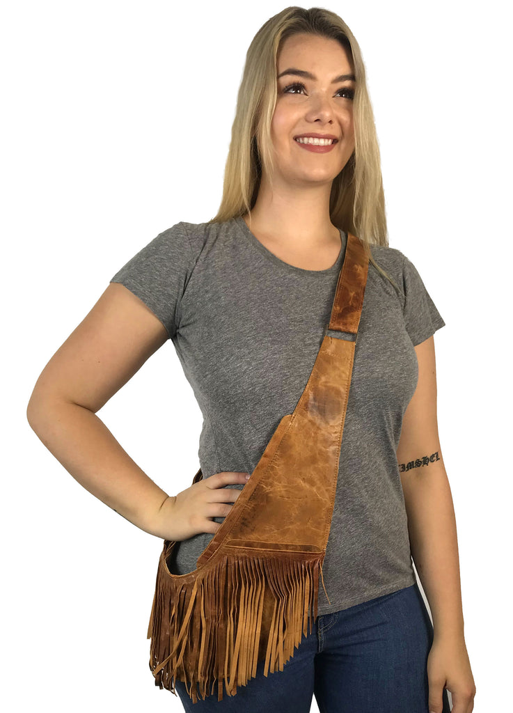 Honey Marbled Classic Full Fringe Leather Sash Bag