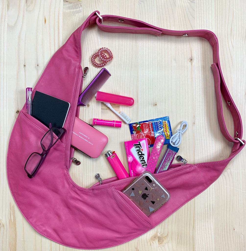 Pink Classic Leather Sash Bag