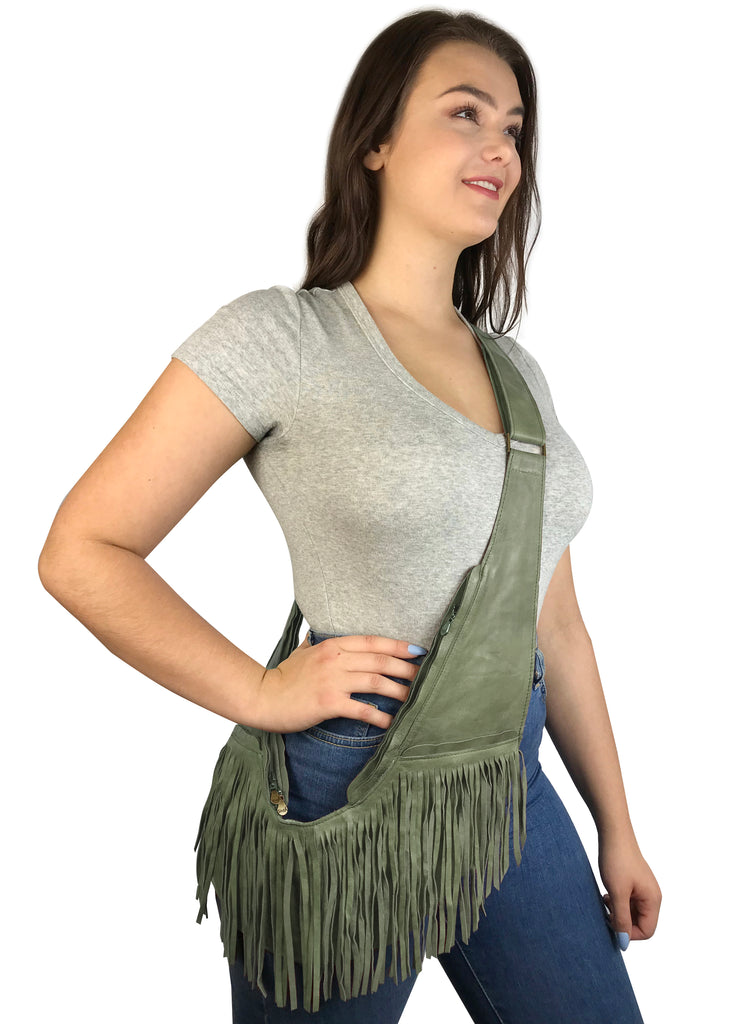 Sage Leather Full Fringe Sash Bag