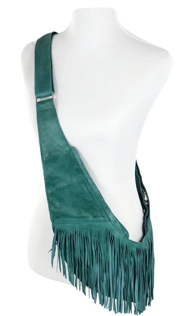 Turquoise Full Fringe Leather Sash Bag