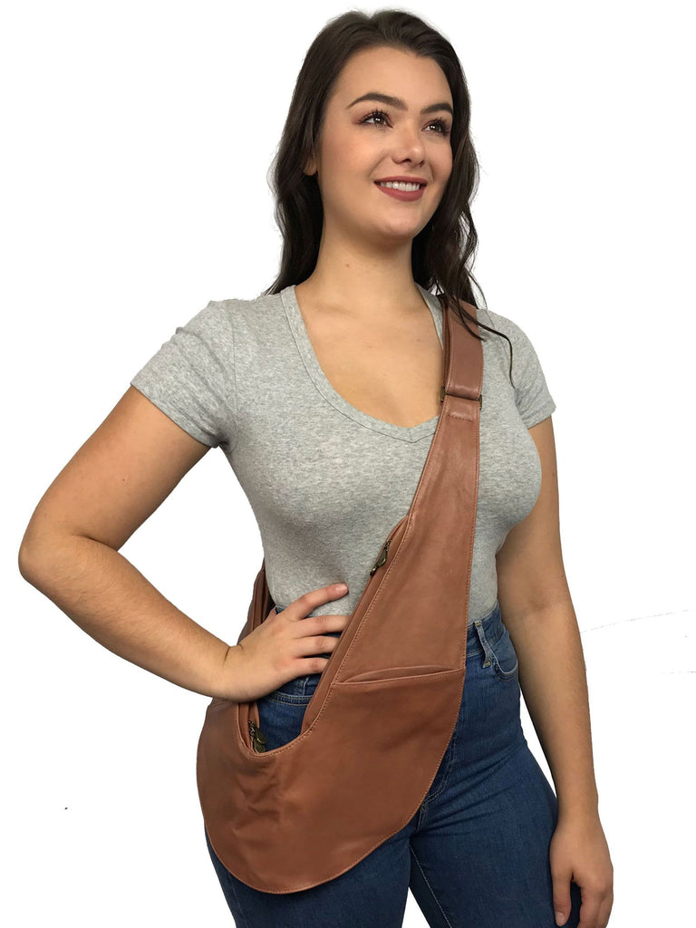 Caramel Classic Leather Sash Bag