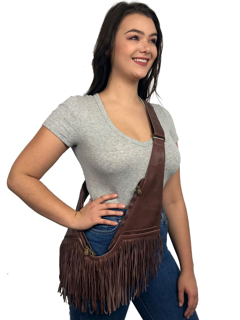 Brown Leather Full Fringe Sash Bag