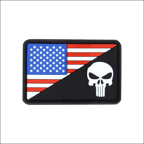 TactiCool - Morale Patch - Flag and Punisher PVC Patch - 2018 - gift - veteran - emt - army - policeman - military - firefighter - molle - navy - marines