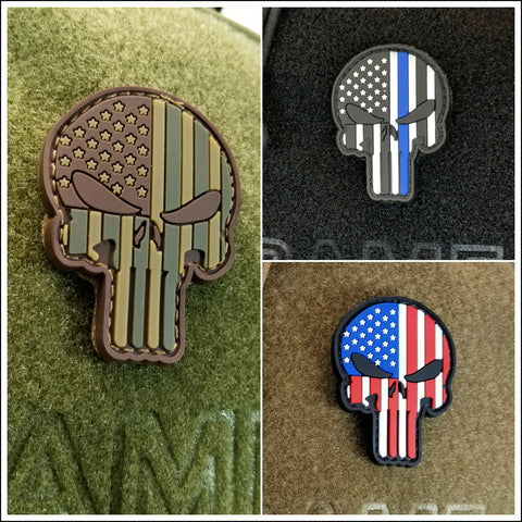 TactiCool - Morale Patch - Punisher Skull Flag Patch - 2018 - gift - veteran - emt - ems - policeman - military - firefighter - molle